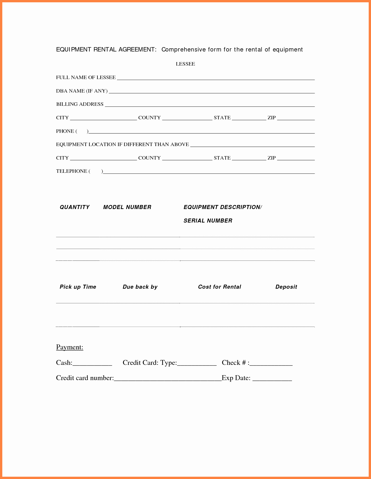 Equipment Rental Agreement Template Free New 9 Equipment Rental Lease Agreement Template