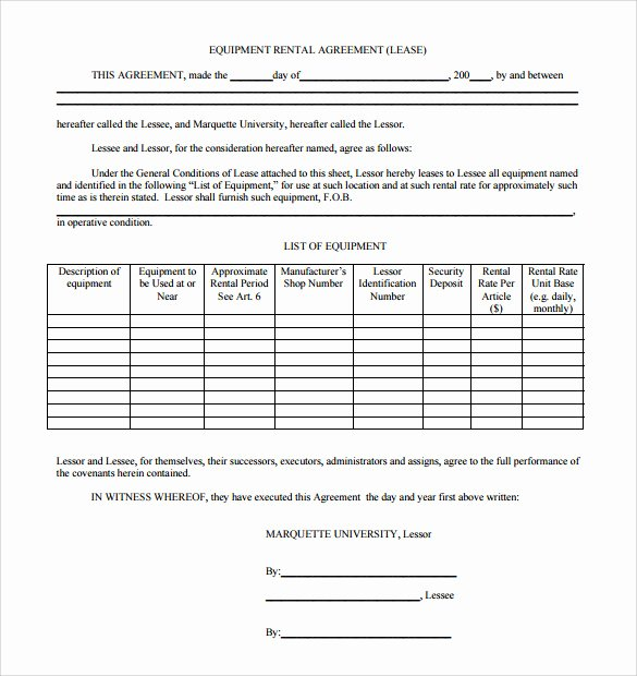 Equipment Rental Agreement Template Free New Sample Equipment Rental Agreement Template 15 Free