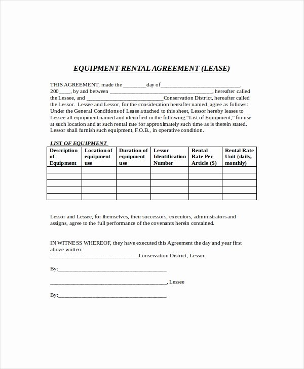 Equipment Rental Agreement Template Free Unique 10 Equipment Lease Templates Word Pdf Google Docs