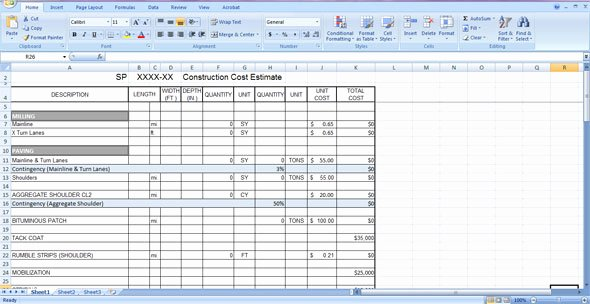 Estimating Template for Construction Best Of Construction Cost Estimate Template Free Download