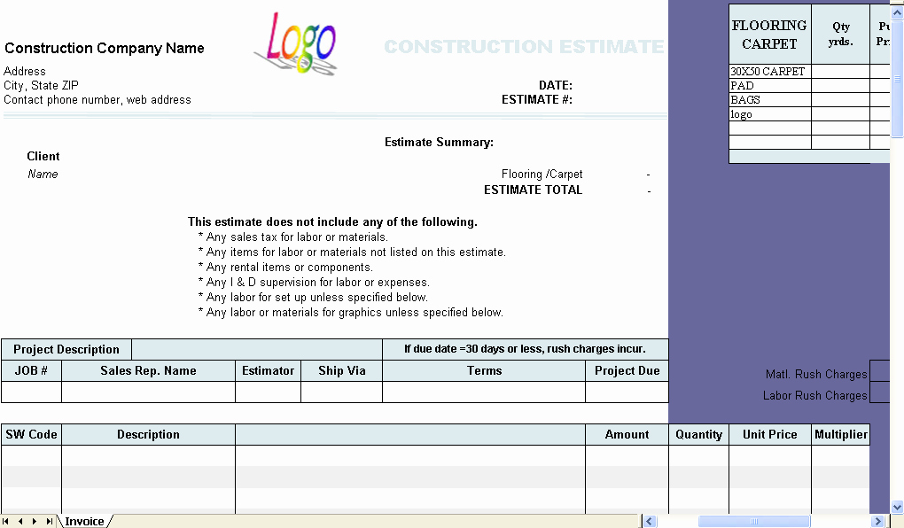 Estimating Template for Construction Inspirational Construction Estimate Template Invoice Manager for Excel