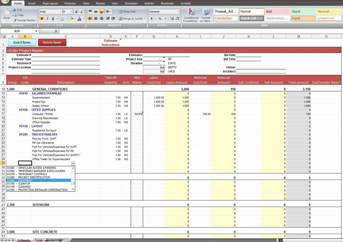 Estimating Template for Construction Unique Construction Estimating Spreadsheet Template