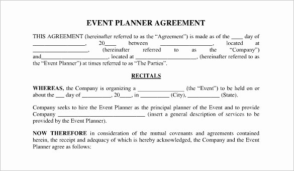 Event Planning Contract Template Beautiful Free Wedding Planner Contract Templates