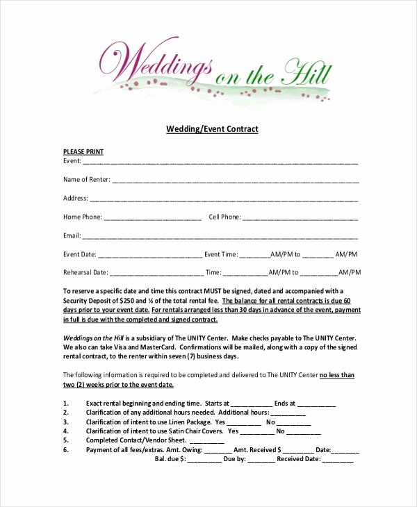 Event Planning Contract Template Inspirational Sample event Contract form 10 Free Documents In Word Pdf