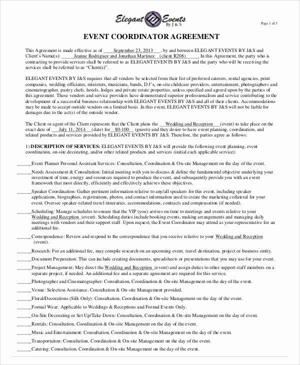 Event Planning Contract Template Unique Sample event Contract Agreement 8 Examples In Word Pdf