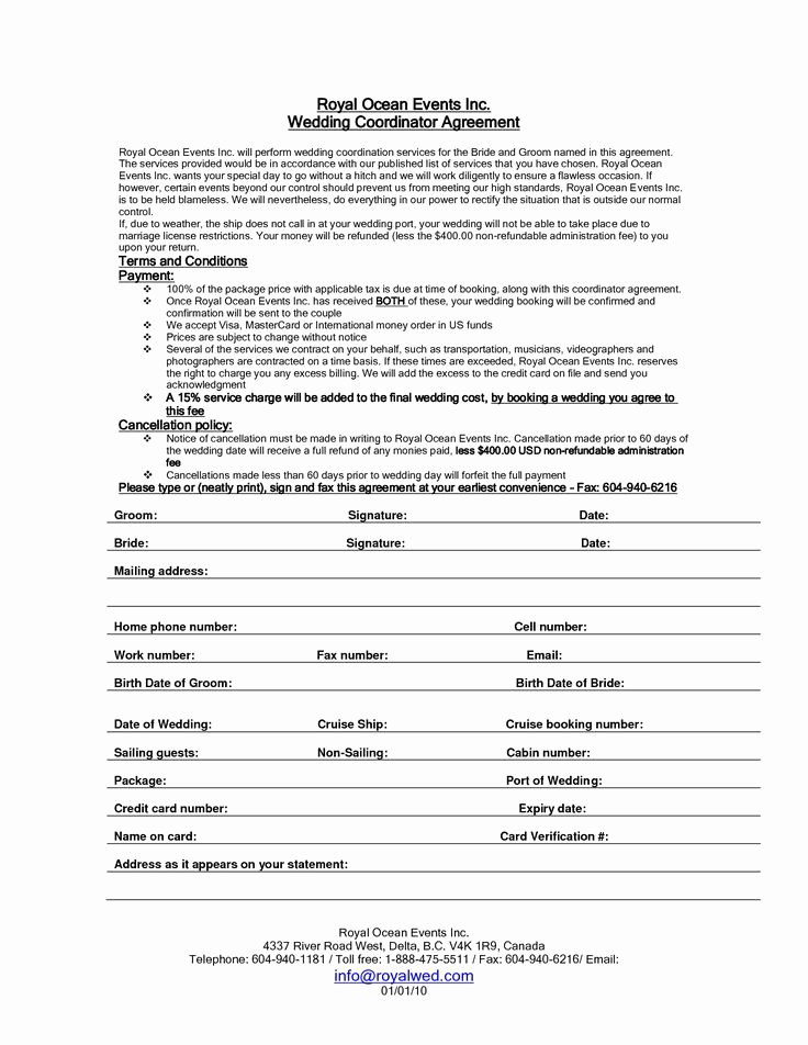 Event Planning Contract Template Unique Wedding Planner Contract Sample Templates