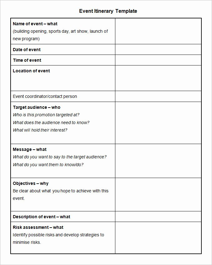 Event Planning Template Word Unique 11 event Itinerary Template Doc Pdf Psd
