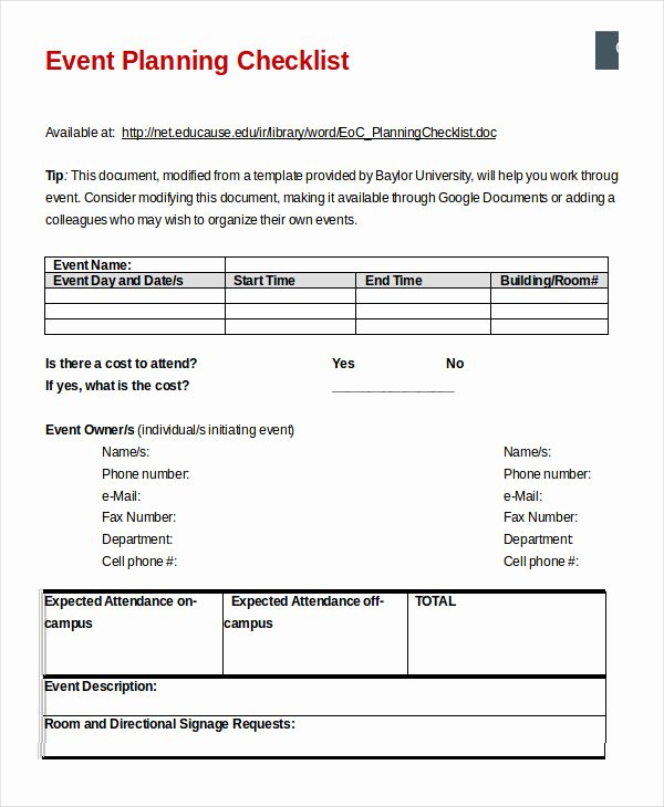 Event Planning Template Word Unique event Planning Checklist 16 Free Word Pdf Documents