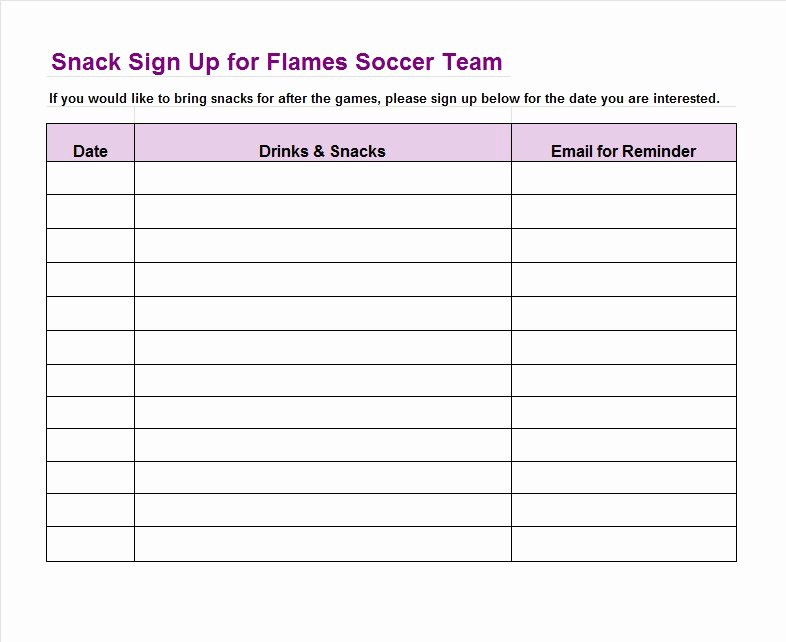 Event Sign Up Sheet Template Fresh 40 Sign Up Sheet Sign In Sheet Templates Word & Excel