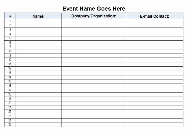 Event Sign Up Sheet Template Inspirational event Sign In Sheet Template Free Download Aashe
