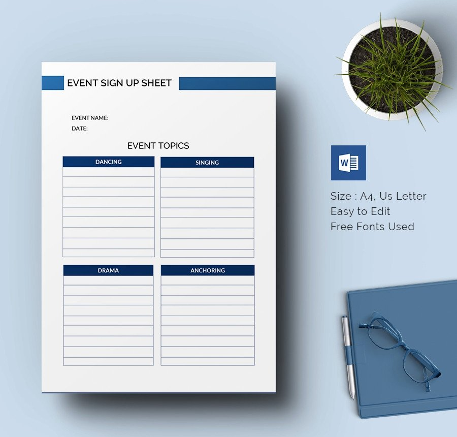 Event Sign Up Sheet Template Inspirational Sign Up Sheets 64 Free Word Excel Pdf Documents