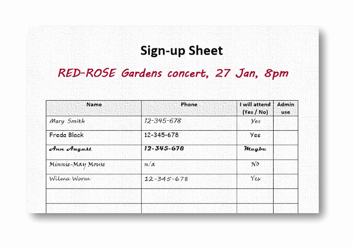 Event Sign Up Sheet Template Unique Rustling Resources for Singing to Her Choir event