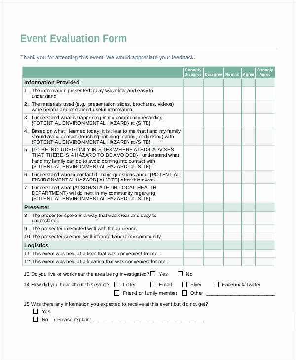 Event Survey Template Word Fresh 10 Evaluation Sheet Templates Free Sample Example