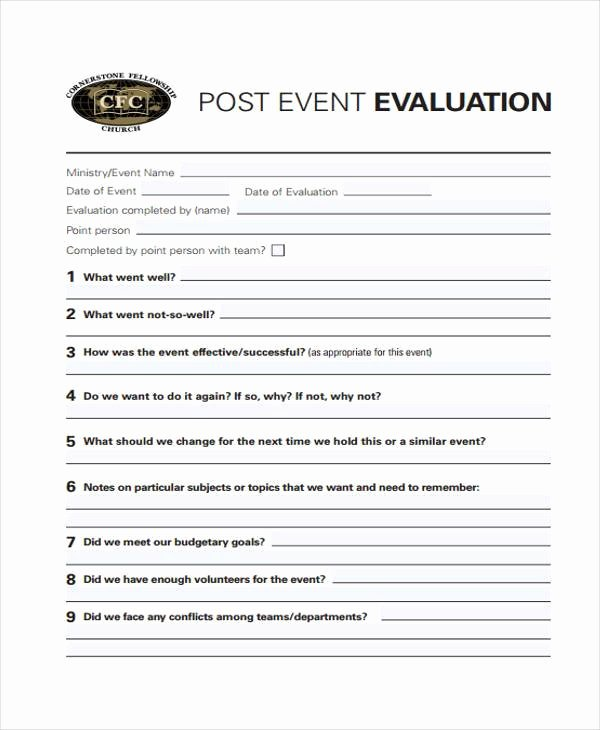 Event Survey Template Word Fresh Free 8 event Evaluation form Samples In Sample Example