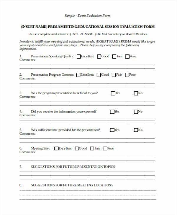 Event Survey Template Word Luxury Sample Evaluation form In Word 12 Examples In Word