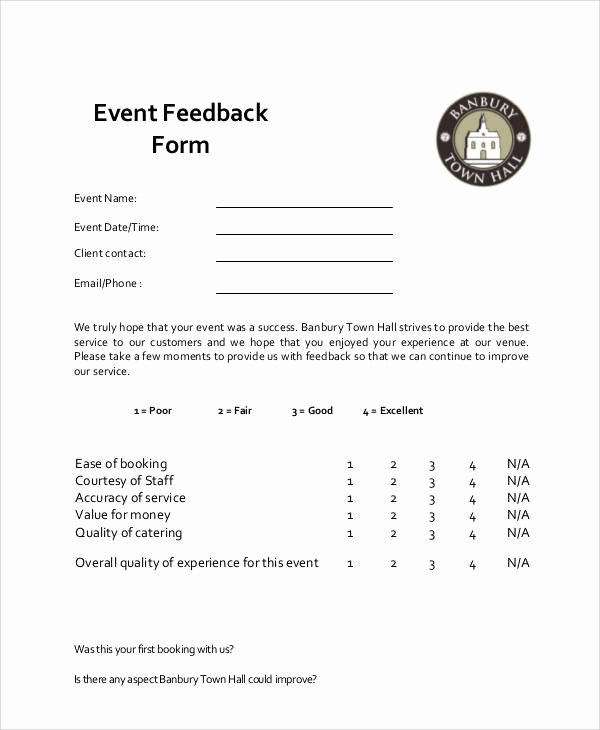 Event Survey Template Word New Sample event Feedback form 9 Examples In Word Pdf