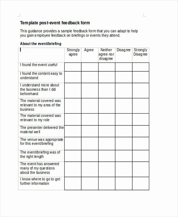 Event Survey Template Word Unique 15 event Feedback form Templates