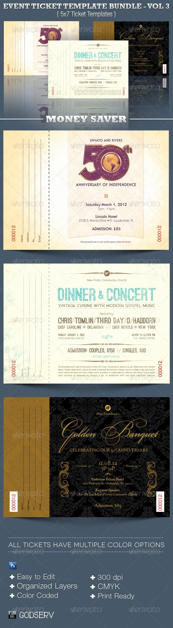 Event Ticket Template Photoshop Awesome event Ticket Template Bundle Volume 3