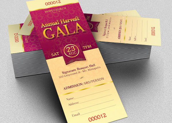 Event Ticket Template Photoshop Beautiful Harvest Gala Ticket Template On Behance