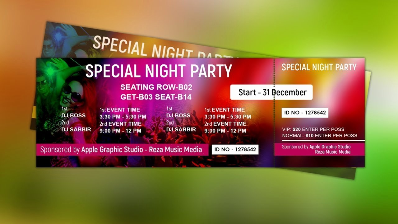 Event Ticket Template Photoshop Elegant How to Design event Ticket Template Shop Tutorial