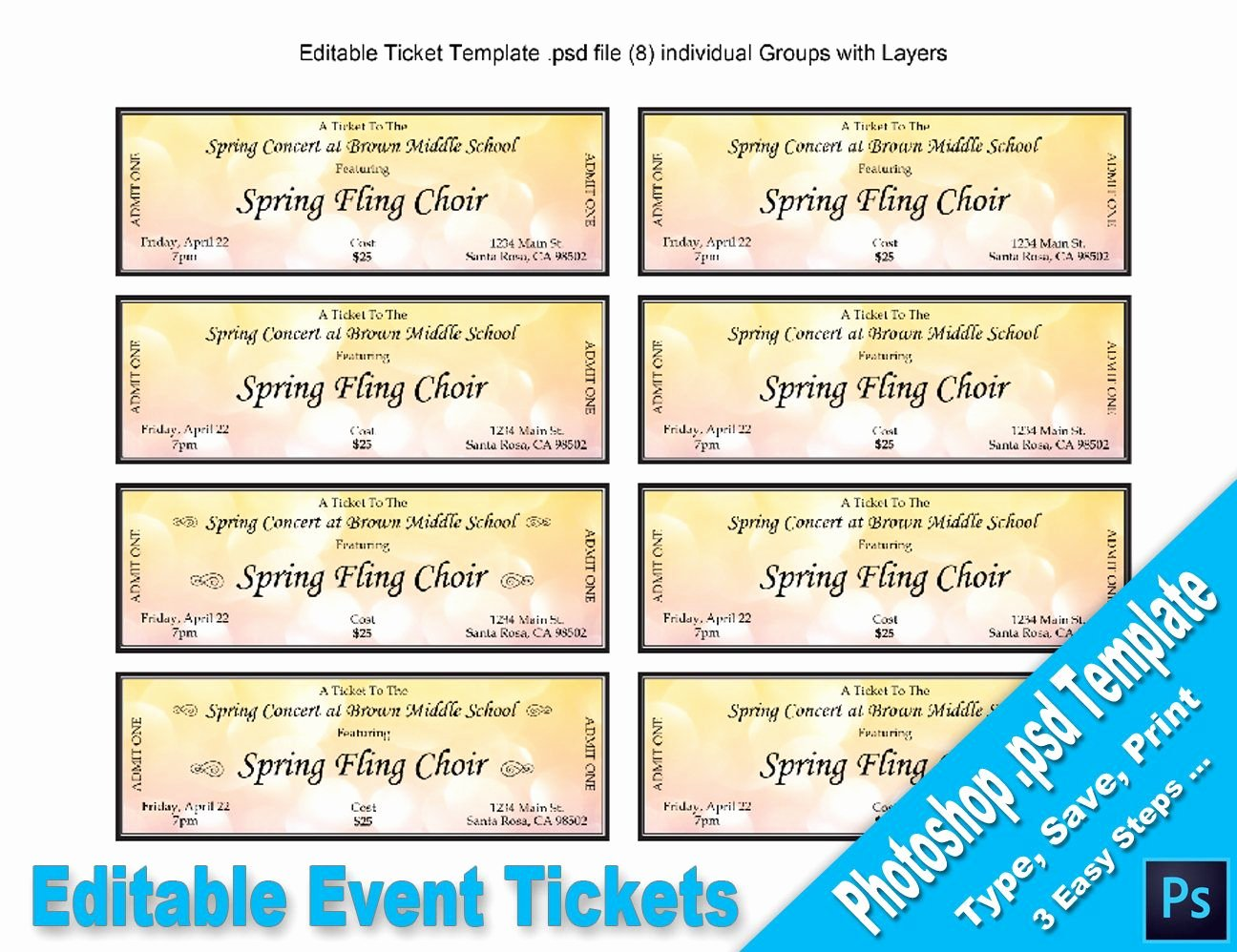 Event Ticket Template Photoshop Inspirational event Tickets Editable Shop Psd Template Printable