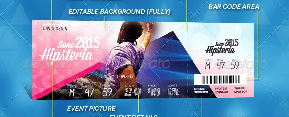 Event Ticket Template Photoshop Unique 19 Useful event Tickets Templates – Design Freebies