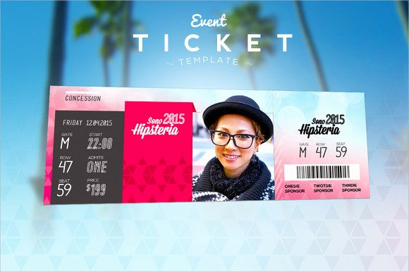 Event Ticket Template Photoshop Unique 38 Sample Amazing event Ticket Templates Psd Ai Word