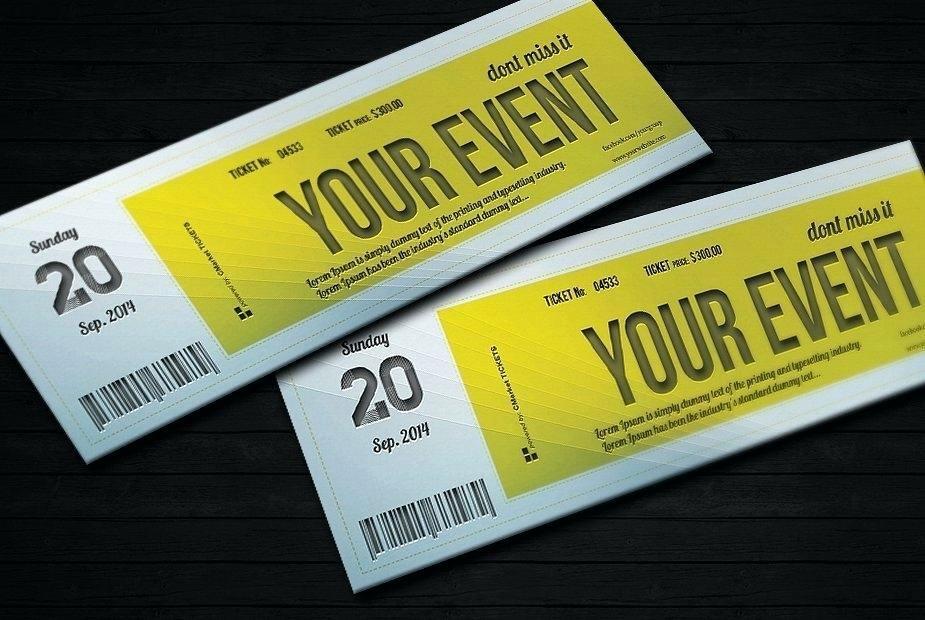 Event Ticket Template Photoshop Unique event Ticket Template Photoshop
