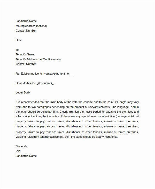Eviction Letter Template Free Best Of Eviction Letter