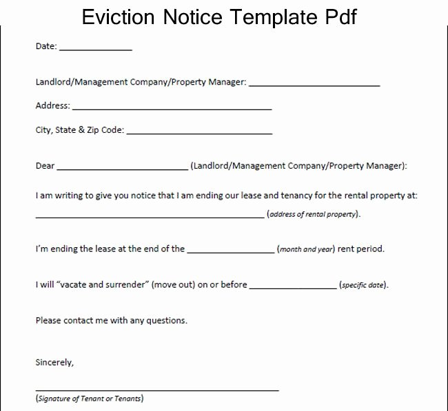 Eviction Letter Template Free Lovely Sample Eviction Notice Template Pdf