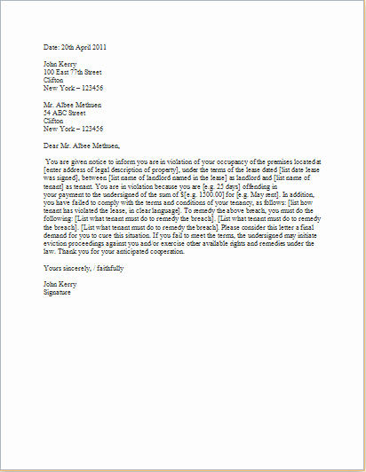 Eviction Letter Template Free Luxury Eviction Letter Templates for Word C