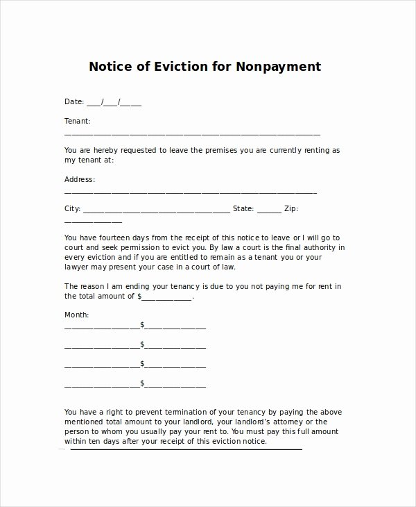 Eviction Letter Template Free Unique Eviction Letters 10 Free Pdf Word Documents Download