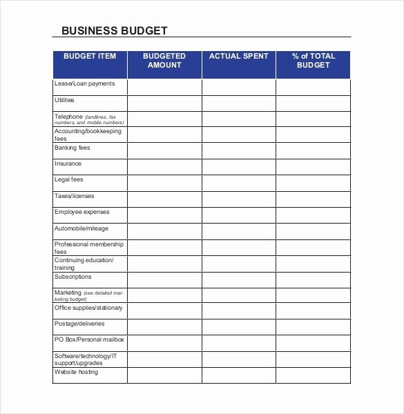 Excel Business Budget Template Lovely Small Business Bud Templates