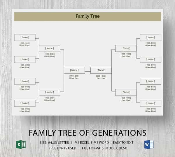 Excel Family Tree Templates Elegant Simple Family Tree Template 25 Free Word Excel Pdf