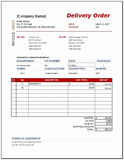 Excel order form Template Luxury Delivery order form Templates for Ms Word & Excel