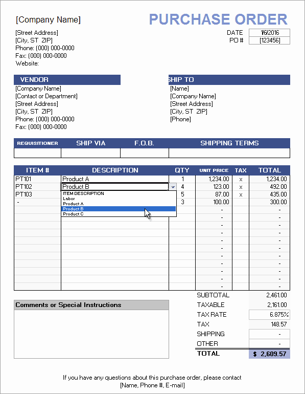 Excel order form Template Unique Free Purchase order Template with Price List