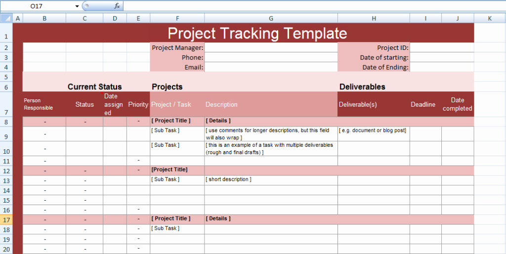Excel Task Tracker Template Beautiful Multiple Project Tracking Templates for Excel