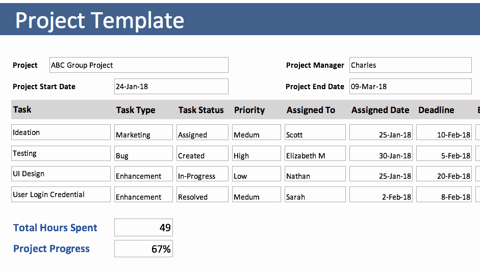 Excel Task Tracker Template Unique Project Tracking Template