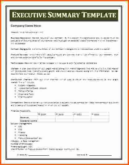 Executive Summary Template Microsoft Word Fresh 8 Executive Summary Template Word