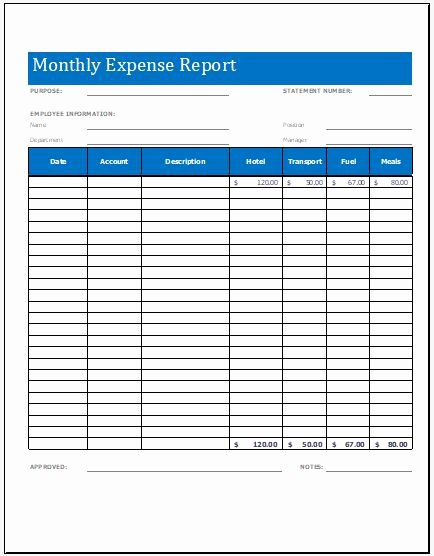 Expense Report Template Word Best Of Monthly Expense Report Worksheet Template