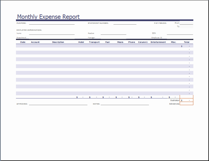 Expense Report Template Word Elegant Ms Excel Monthly Expense Report Template