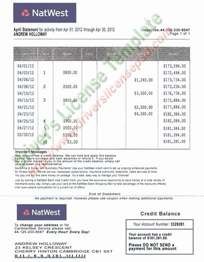 Fake Credit Report Template Unique Natwest Bank Statement Psd