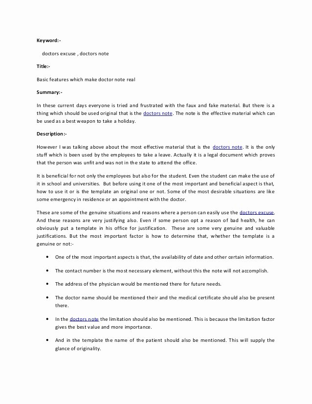 Fake Hospital Note Template Inspirational Importance Of Doctors Note