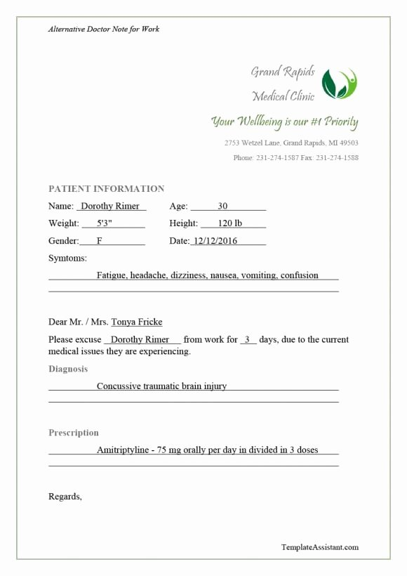 Fake Hospital Note Template New 40 Fake Doctors Note Template Download [pdf Doc]