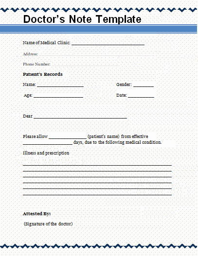 Fake Hospital Note Template New Free Word Templates