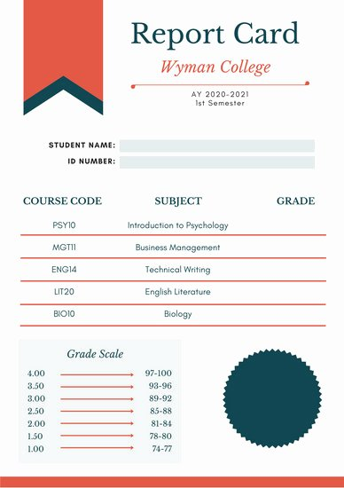 Fake Report Card Template Awesome Customize 134 College Report Card Templates Online Canva