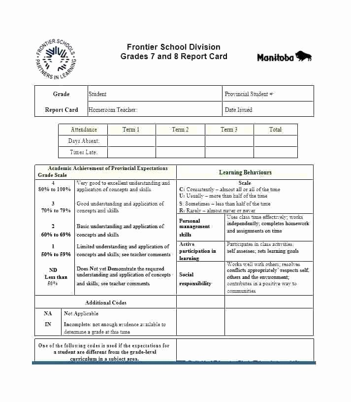 Fake Report Card Template Awesome First Grade Report Card Template