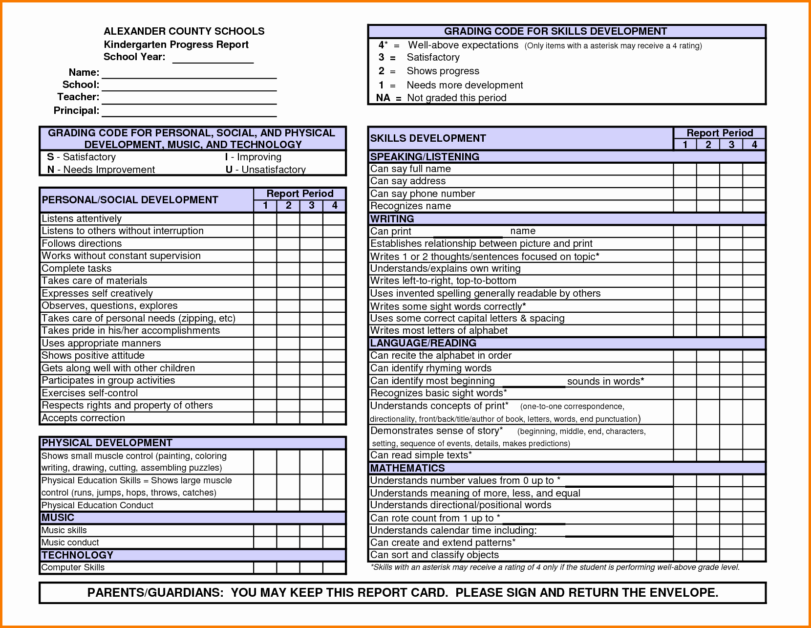 Fake Report Card Template Awesome Kindergarten Report Card Template
