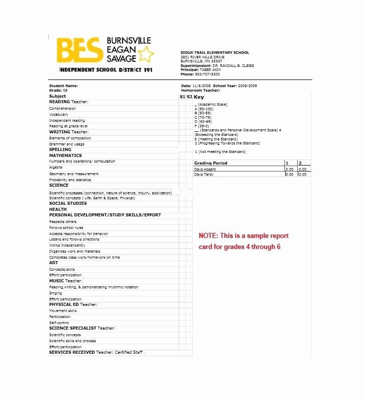 Fake Report Card Template Beautiful 30 Real & Fake Report Card Templates [homeschool High