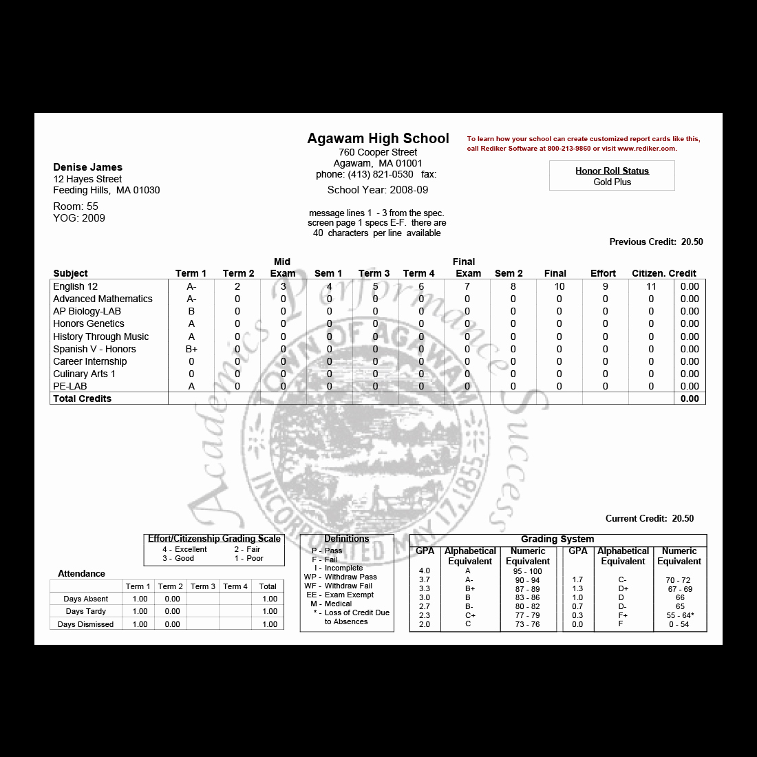 Fake Report Card Template Unique Report Card software Grade Management